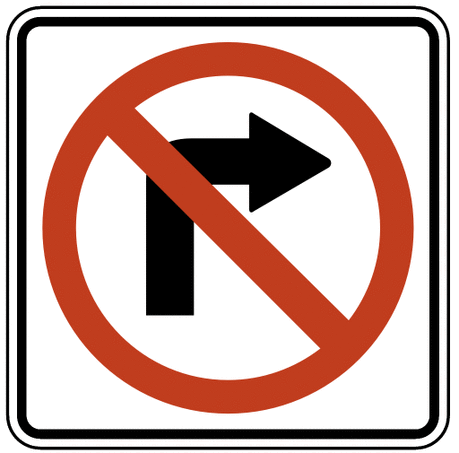 US street sign no right turn