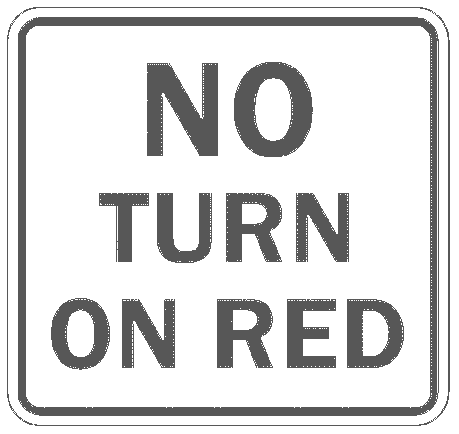 US street sign no turn on red 2