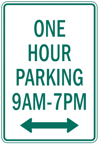 US street sign one hour parking time