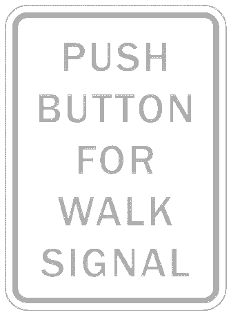 US street sign push buton for walk signal