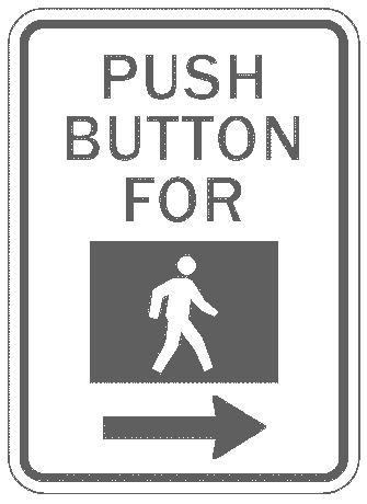 US street sign push button to cross symbol