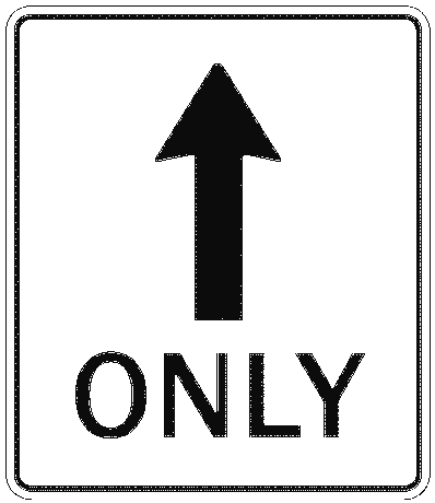 US street sign straight only