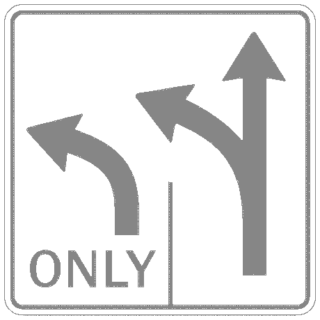 US street sign two lanes for left