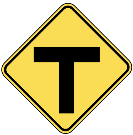warning street sign T intersection ahead
