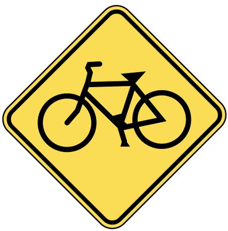 warning street sign bicycle crossing