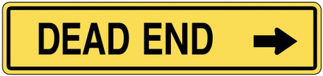 warning street sign dead end small
