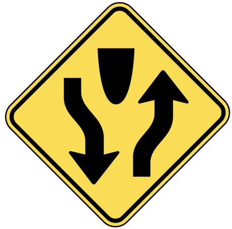 warning street sign divided highway ahead