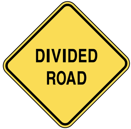 warning street sign divided road