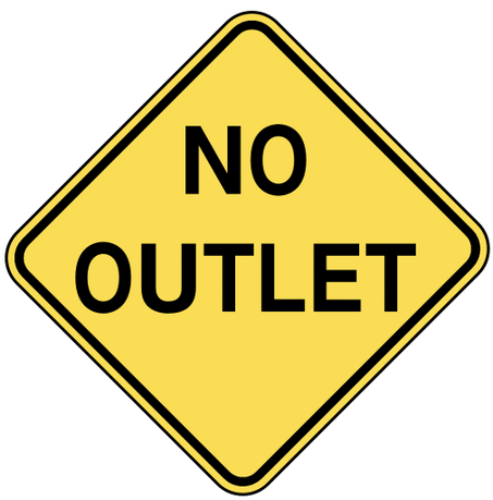 warning street sign no outlet