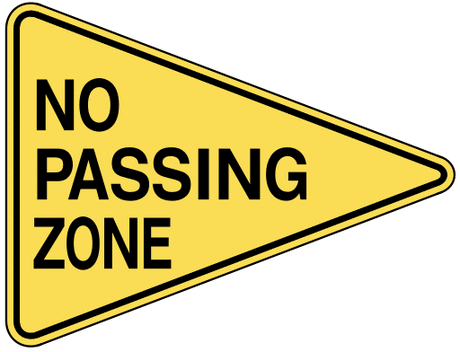 warning street sign no passing zone