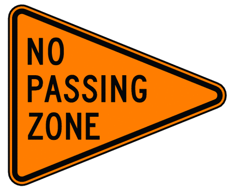 warning street sign no passing zone 2
