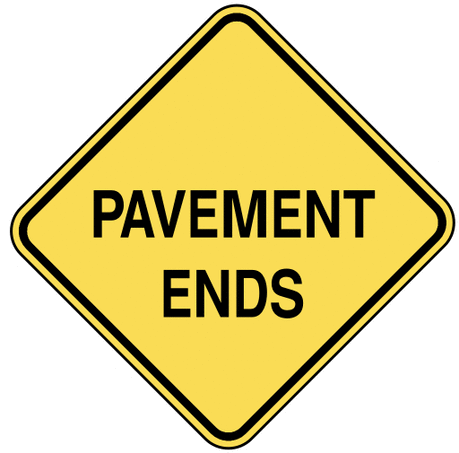 warning street sign pavement ends