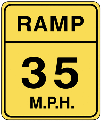 warning street sign ramp 35mph