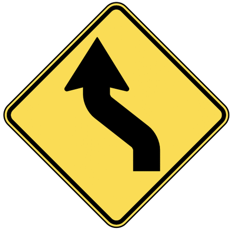 warning street sign reverse curve