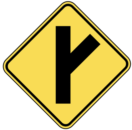 warning street sign right fork ahead