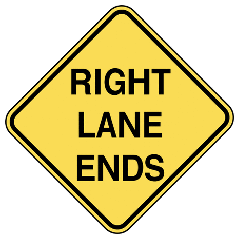 warning street sign right lane ends
