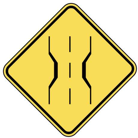 warning street sign road narrows ahead