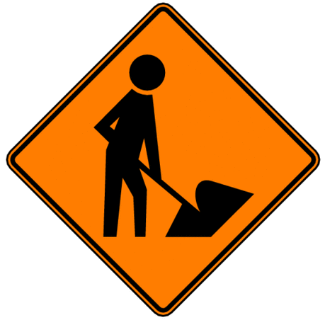 warning street sign road work