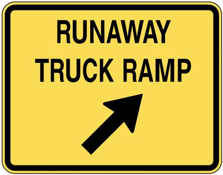 warning street sign runaway truck ramp