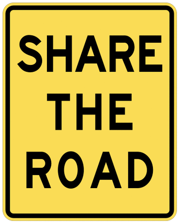 warning street sign share the road