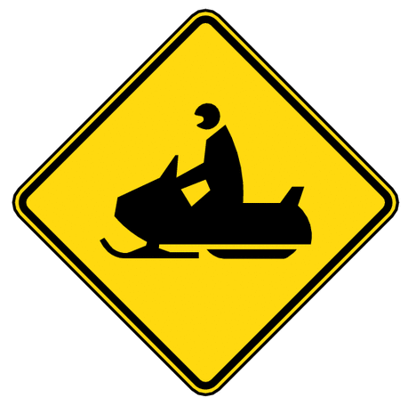 warning street sign snowmobile crossing
