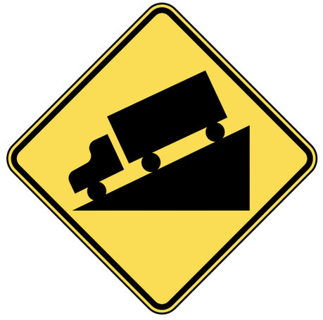 warning street sign steep grade