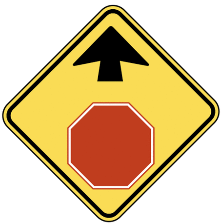 warning street sign stop sign ahead