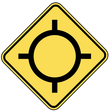 warning street sign traffic circle ahead