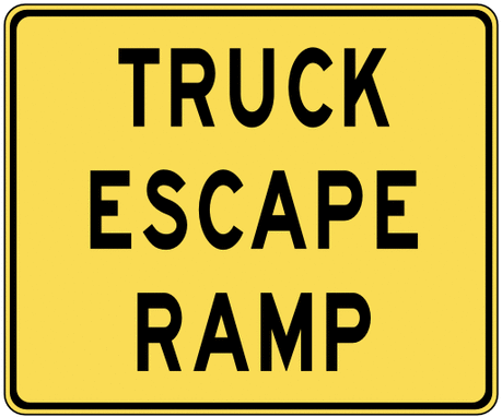 warning street sign truck escape ramp