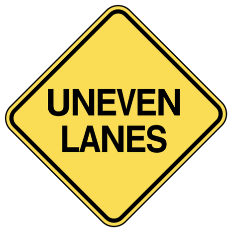 warning street sign uneven lanes