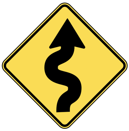 warning street sign winding road
