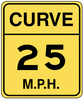 warning street sign curve 25mph clip art