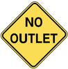 warning street sign no outlet clip art