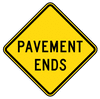 warning street sign pavement ends large clip art