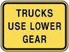 warning street sign trucks use lower gear clip art