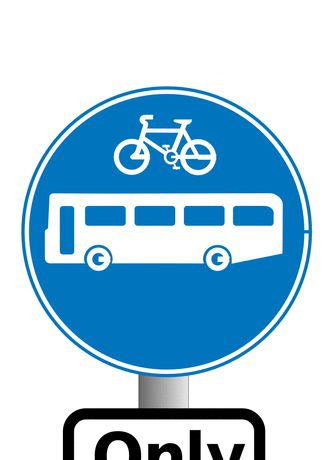 Blue buses and bikes