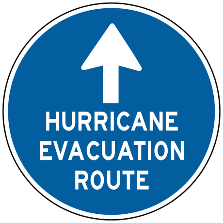 information sign hurricane evacuation route