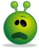 smiley green alien whatface confused surprised clip art