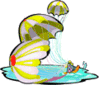 space ship Space Capsule in Water 1 clip art