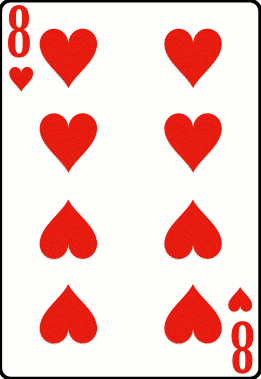 Cards deck heart 8