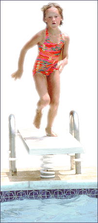 girl on diving board