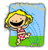 kid in sprinkler clip art