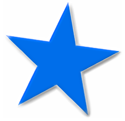Star basic 5 point blue star beveled