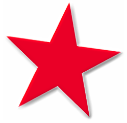 Star basic 5 point red star beveled