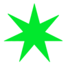 Star 7 pointed star green clip art
