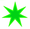 Star 7 pointed star green 2tone clip art