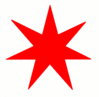 Star 7 pointed star red clip art