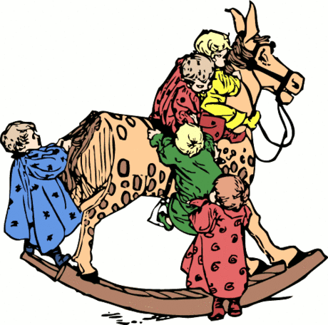toddlers on a rocking horse